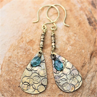 Textured Brass Adventurine Earrings
