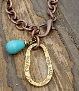 mixed metal edgy turquoise necklace